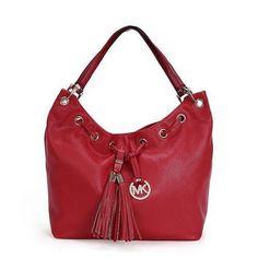 Michael Kors Camden Drawstring Large Red Shoulder Bags