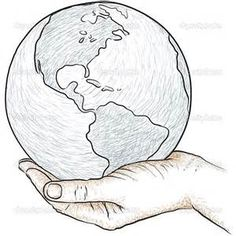 Sketches Of Hands Holding Earth Coloring Pages