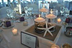 Table center pieces beach wedding