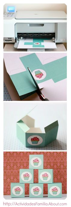 Christmas Gift Box Ideas – Make box type containers Cupcake Packaging, Gift Packaging, Packaging Ideas, Scrapbooking Technique, Origami, Cupcake Boxes, Box Cupcakes, Cupcake Favors, Diy Cupcake