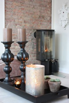 The Little Corner Decorating Coffee Tables, Brick Wall, Home Decor Inspiration, Candlesticks, Sweet Home, Candle Holders, New Homes, Display, Table Decorations