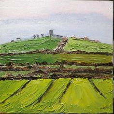 Templar Knight Castle, Irish oil painting by Marie Armstrong Oleary MAOL Art Dublin Ireland Castle Ruins, Irish Art, Green Fields, Green Landscape, Knights Templar, Dublin Ireland, City Art, Oil Paintings, Countryside