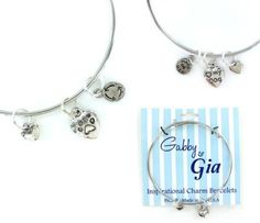 Expandable Adjustable Bangle Charm Bracelet silver paw pet dog mom heart gift