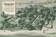 Halekulani Hotel Map c1954