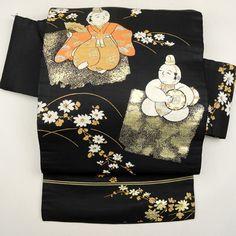 Black, silk nagoya obi / 黒地に踊る童子柄の名古屋帯 http://www.rakuten.co.jp/aiyama #Kimono #Japan #aiyamamotoya