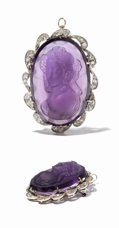 Brooch Pendant with Amethyst Cameo & Diamonds, Europe, circa 1890, 18 karat yellow gold and 950 platinum, Cut amethyst cameo with antique-like woman portrait in the profile, 30 old cut diamonds of circa 0.78 carat set in stylized leaf settings, Dimensions of the brooch pendant: 5 x 4 cm, Weight: circa 23 grams