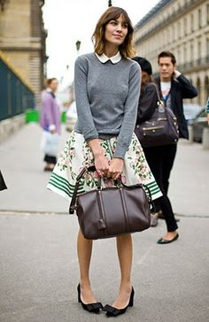 sweater, knee length skirt and bow flats