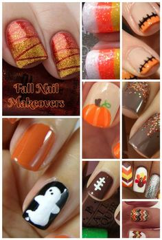 Fall Nail Makeover Ideas for Teens Fall madly in love (pun totally intended!) with these spectacular fall nail makeover ideas for teens! Perfect for Halloween, Thanksgiving and just because! Halloween Nail Designs, Fall Nail Designs, Halloween Nails, Halloween Parties, Holiday Nails, Christmas Nails, Fancy Nails, Pretty Nails, October Nails