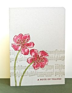 stamping cards with music note background | ... Music Notes wheel, the flowers were stamped over the top and the card