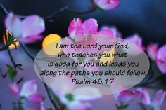 """❥ ISAIAH 48:17~ """"I am the Lord your God, who teaches you what is good for you and leads you along the paths you should follow."""" {Whoever created this image used the wrong scripture~ it's ISAIAH 48:17}"""