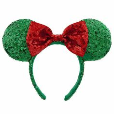 Disney Parks Minnie Mouse Green Christmas Sequins Ears Headband w/ Red Bow