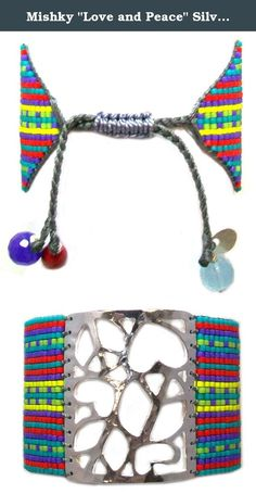 """Mishky """"Love and Peace"""" Silver Plated Striped Multi-Colored Mesh Sead Beaded Cuff Bracelet, Adjustable. Jewelry with Social Responsibility. Mishky designs are brought to life by the hands of Putumayo indigenous people of the Colombian Amazon, talented artisans of one of Colombia's vast rural communities. The core product is an articulated collection of bracelets produced in different widths, easily adjustable to any desired length by a distinctive knotting system. The bracelets are beaded..."""