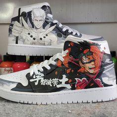 Naruto Custom Air Jordan 1 Sneakers Painted Canvas Shoes, Hand Painted Shoes, Painting Shoes, Custom Jordans, Unique Christmas Gifts, On Shoes, Jordan 1, Air Jordans, Naruto
