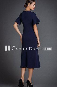 441afca520 Simple Bell Sleeve A-line Tea-length Dress