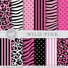 Papel Digital de color de rosa salvaje: Rosa patrón impresiones, rosa patrones fondos cebra rosa rosa leopardo, descarga instantánea