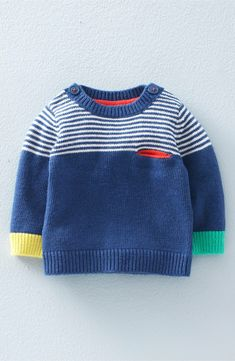 Mini Boden 'Fun' Knit Sweater (Baby Boys & Toddler Boys) available at Baby Knitting Patterns, Baby Boy Knitting, Knitting For Kids, Baby Knits, Start Knitting, Crochet Patterns, Baby Boy Sweater, Knit Baby Sweaters, Boys Sweaters