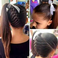 Hairstyles, cheer hairstyles, black kids hairstyles, cute hairstyles for . Lil Girl Hairstyles, Hairstyles For School, Pretty Hairstyles, Braided Hairstyles, Black Hairstyles, Cute Cheer Hairstyles, Cheerleader Hairstyles, Kids Hairstyle, Braided Ponytail