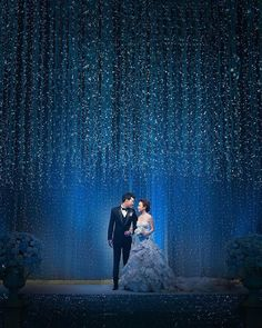 A ballroom decked out in hanging fairly lights. utterly magical! By Chic Planner #wedding #backdrop