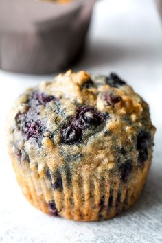 These soft and tender maple flax blueberry oatmeal muffins are naturally sweetened and loaded with wholesome ingredients.