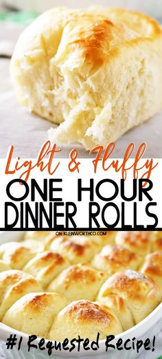 One Hour Dinner Rolls are made with this easy yeast rolls recipe. Buttery soft fluffy dinner rolls are undeniably delicious & literally take just 60 minutes to make! My favorite roll recipe ever! The perfect recipe for holidays & gatherings. Dinner Rolls Easy, Sweet Dinner Rolls, Fluffy Dinner Rolls, Easy Hot Roll Recipe, Soft Rolls Recipe, Tasty Bread Recipe, Easy Fluffy Bread Recipe, One Hour Bread Recipe, Fluffy Roll Recipe