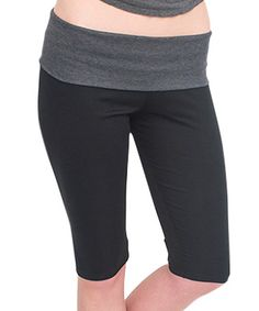 Love this Black & Charcoal Fold-Over Capri Leggings - Women & Plus by Magid on #zulily! #zulilyfinds