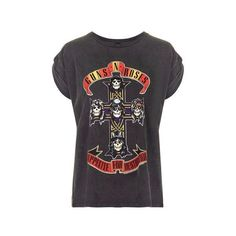 Guns and Roses Tour Tee by and Finally ($36) ❤ liked on Polyvore featuring tops, t-shirts, black, rose tops, rosette top, logo tee, topshop and rose t shirt