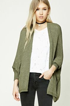 933654f7ed A midweight open-knit cardigan featuring long dolman sleeves