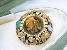 Vintage Tiger Eye Brooch Layered Chalcedony Pin