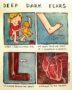 Deep Dark Fears by Fran Krause. Creepy Stories, Horror Stories, Fran Krause, Fear Book, Deep Dark Fears, The Awkward Yeti, Dark Comics, Funny Comics, Comic Strips