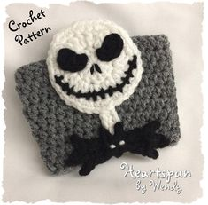 Ravelry: Jack Skellington Coffee or Tea Cup Cozy pattern by Wendy Connor Crochet Coffee Cozy, Crochet Cozy, Crochet Hooks, Crochet Chain, Crochet Skull, Crochet Dragon, Crochet Classes, Crochet Projects, Half Double Crochet
