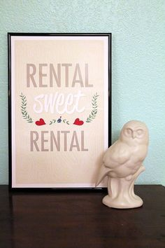 Rental Sweet Rental Print by Judy the Jazz Cat Decoration, Decorating Tips, Sweet Home, Diy Projects, Place Card Holders, Diy Crafts, Crafty, Frame, Illustration