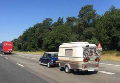 mini with a caravan - Bing images Tiny Camper, Camper Caravan, Vintage Caravans, Caravan Vintage, Vintage Campers, Eriba Puck, Camping, Trailer, Classic Mini