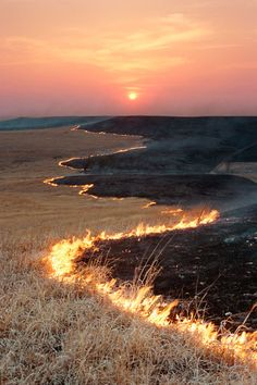 Prairie Fire in Flint Hills, Kansas.