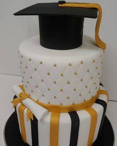 #graduation #gold #black #scroll #cake #dlish Captain Hat, Graduation, Cake, Gold, Black, Fashion, Moda, Black People, Fashion Styles