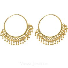 22k Gold Bali | Super stylish bali earrings crafted in 22k gold. Dare to dazzle with this shiny bali earrings.