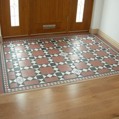 39 Ideas Wood Tile Floor Designs Entryway For 2019 Victorian Flooring, Victorian Tiles, Hall Tiles, Tiled Hallway, Hall Flooring, Porch Flooring, Slate Flooring, Victorian Hallway, Flur Design