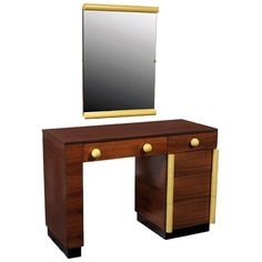 Art Deco Vanity Desk And Mirror Gilbert Rohde for Cavalier | From a unique collection of antique and modern vanities at https://www.1stdibs.com/furniture/tables/vanities/