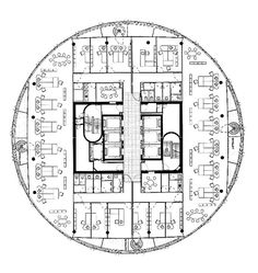 Typology: The Changing World of Office Work - DETAIL inspiration Office Building Plans, Round Building, Building Layout, Office Floor Plan, Hotel Floor Plan, Architectural Floor Plans, Interior Design Layout, Modern Floor Plans, Hotel Architecture
