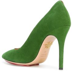 Charlotte Olympia banana pumps ($370) ❤ liked on Polyvore featuring shoes, pumps, green leather pumps, charlotte olympia shoes, green leather shoes, charlotte olympia pumps and charlotte olympia