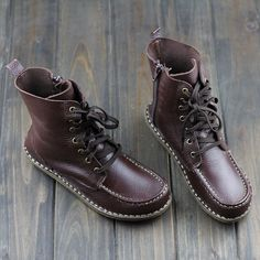Handmade Brown BootsAnkle BootsOxford Women Shoes Flat