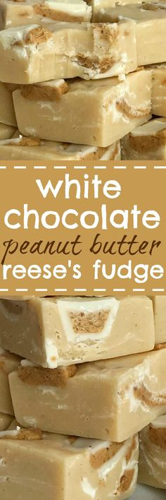 Quick & easy white chocolate peanut butter Reese's fudge only needs 4 Ingredients! So simple and deliciously creamy white chocolate peanut butter fudge. Reese's Recipes, Fudge Recipes, Best Dessert Recipes, Candy Recipes, Easy Desserts, Delicious Desserts, Cookie Recipes, White Chocolate Fudge, Gastronomia