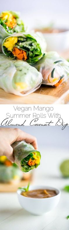 Vegan Spiralized Cucumber Noodles Mango Summer Rolls with Almond Coconut Dip - These summer rolls are made with mango and cucumber noodles, instead of rice noodles, to make them lower carb.