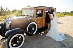 #realweddings #greatharboryachtclub #nantucket #bride #groom #kiss #vintagecar #socoevents www.socoevents.com
