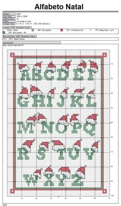 New Embroidery Designs Free Alphabet Ideas Christmas Cross Stitch Alphabet, Cross Stitch Alphabet Patterns, Xmas Cross Stitch, Embroidery Alphabet, Cross Stitch Christmas Ornaments, Cross Stitch Letters, Cross Stitch Designs, Cross Stitching, Cross Stitch Embroidery