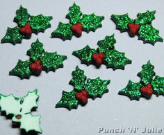 GLITTER HOLLY - Christmas Leaf Berries Plastic Dress It Up Craft Embellishments
