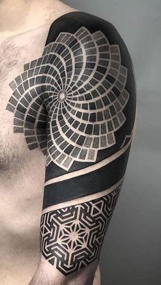 Geometric tattoo on arm & shoulder Ems Tattoos, Line Tattoos, Tattoos For Guys, Tatoos, Chest Tattoo, Arm Tattoo, Sleeve Tattoos, Sacred Geometry Art, Geometry Tattoo
