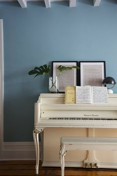 most beautiful soothing blue wall color, love it, works so well with both black, as well as vanilla white of the piano. beautiful!