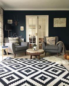 Living Room Grey, Living Room Decor, Living Rooms, Living Room Hardwood Floors, Green Accent Walls, Blue Rooms, Interior Design Living Room, Family Room, New Homes