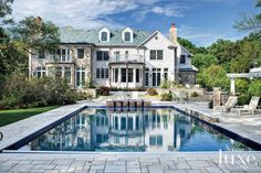 Traditional Colonial-Inspired Poolside Exterior
