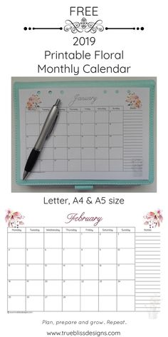 Download a free 2019 floral printable monthly calendar today! This landscape monthly calendar has a different watercolor design for every month and has space for notes. It's available in Letter, A4 and A5 size so whether you intend to use it in a planner